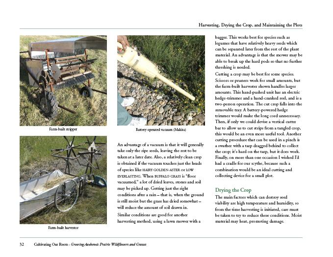 Sample page with images of harvesting equipment